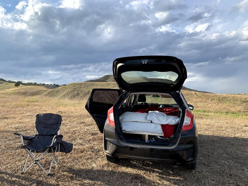 Honda Fit camping bed