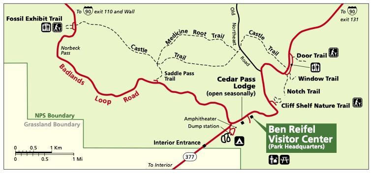Badlands Hiking Map